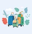travel suitcases on white vector image
