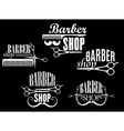 Vintage barber shop emblems on black background vector image vector image