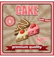 Vintage cake poster vector image vector image