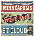 vintage tin sign collection with usa cities vector image