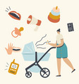 young mother pushing pram with newborn baby vector image vector image