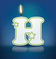 Candle letter H with flame vector image