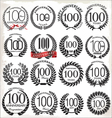100 years anniversary laurel wreaths vector image