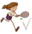 A simple sketch of a girl playing tennis vector image vector image