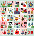 advent calendar with christmas decorations vector image