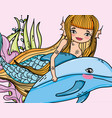 beauty woman mermaid with dolphin and plants vector image