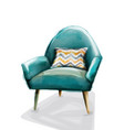 blue retro armchair watercolor design vector image