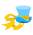 blue wizard hat with a long yellow ribbon the old vector image vector image