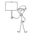 christmas santa claus elf holding empty blank sign vector image