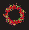 christmas wreath with red berries vector image vector image