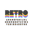 colorful retro font 80s style alphabet letters vector image vector image