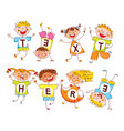 cute happy kids in style of childrens drawings vector image vector image