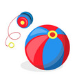 flat yo-yo and ball baby toys vector image