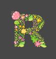 floral summer letter r flower capital wedding vector image