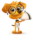 funny dog waiter holds tray of dish and white vector image