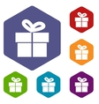 Gift rhombus icons vector image vector image