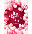 greeting card for march 8 with 3d hearts vector image