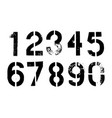 grunge dirty numbers set vector image