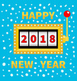 happy new year 2018 slot machine golden glowing vector image
