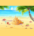holiday by the sea with sand castle vector image
