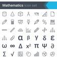 mathematics line icon set vector image