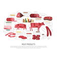 Meat Market Products Flat Infographic Poster vector image vector image