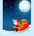 santa claus and a reindeer riding his sleigh and c vector image vector image