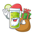 santa with gift sweet cucumber juice isolated on vector image