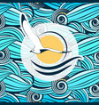seagull on the background of stylized sea waves vector image