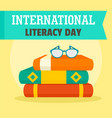 set books literacy day background flat style vector image