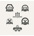Set of simple emblems workshop maintenance vector image