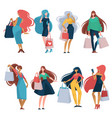 shopping women walking with purchased items in vector image