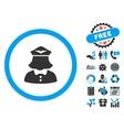 Stewardess Flat Icon with Bonus vector image