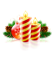 striped christmas candles vector image vector image