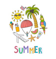 Summer vacation circle shape background vector image vector image