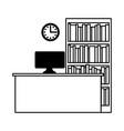 workplace computer clock bookshelf vector image