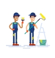 Two house painters holding brush and roller Flat vector image