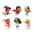 african-american set of boys and girls wearing vector image