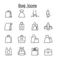 bag icons set in thin line style vector image vector image