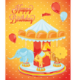 Birthday card carousel with animals vector image