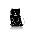 black cat silhouette sketch for your design vector image vector image