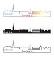 bordeaux skyline linear style with rainbow vector image vector image