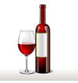 bottle of red wine with a glas vector image vector image