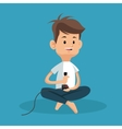 boy sitting with joystick game vector image vector image