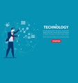 businessman character an technology concept vector image vector image