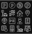 car parking icons set on black background line vector image vector image