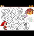 cartoon maze activity with little red riding hood vector image vector image