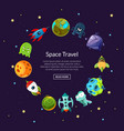 cartoon space planets and ships vector image vector image