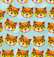 Cat Seamless pattern with funny cute animal face vector image vector image