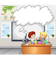 Children doing experiment in the classroom vector image vector image